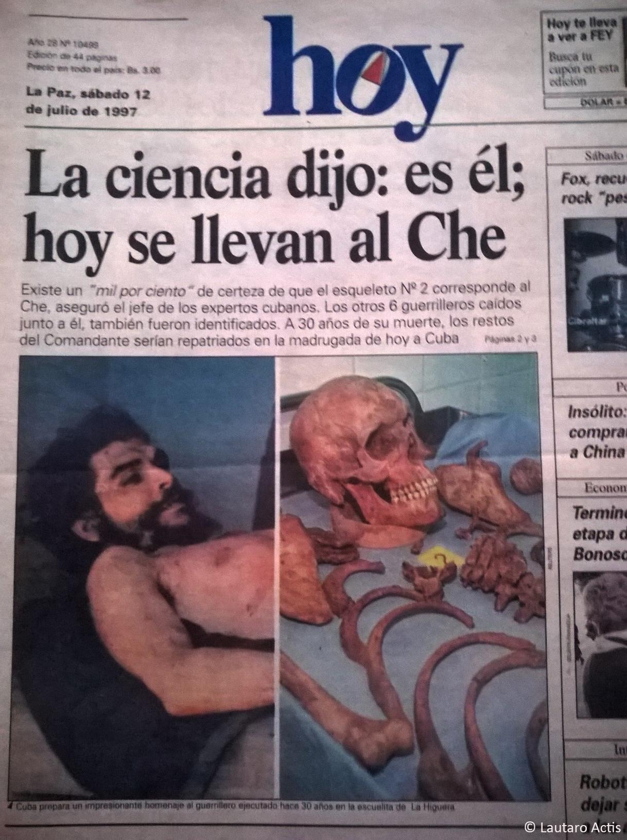 Tapa del periódico Hoy el día en que confirmaron el descubrimiento de los restos del Che en Valle Grande ©